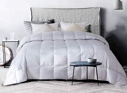 confibona Summer Lightweight 100% Natural White Goose Down Comforter Blanket with Super Soft Cotton Shell with No Sound,Machine Washable, Size California/Oversized King, Light Gray