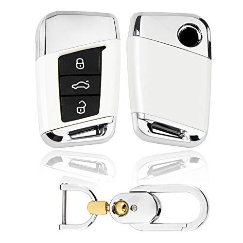 Kwak's Caso de la Llave del Coche para VW Compatible para Volkswagen 19 MAGOTAN Passat CC B8 Variant Llave de Coche Funda Cubierta de Llave de ABS Plástico con Llavero(1#Blanco)