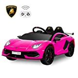 HOMFY Compatible with Kids Ride On Car Official Licensed Lamborghini Aventador SVJ Motorized Electric Vehicles with Remote, 12V Battery Powered, Wheels Suspension, Realistic LED Lights (Pink)