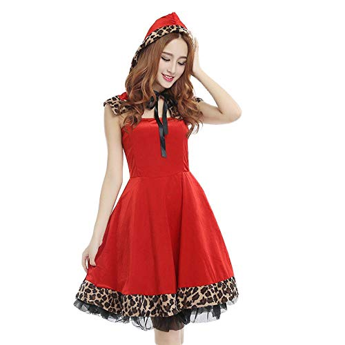 Reizwäsche Weihnachten Kostüm Leopard Swing Edge Schal Red Velvet Kostüm Set Frauen Cosplay Kleidung Party Uniform Xmas Outfit - Red_One_Size