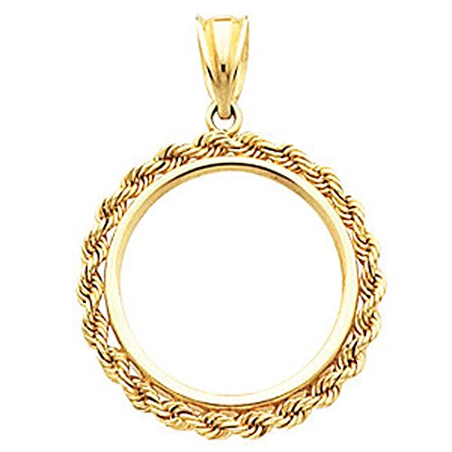 2.5mm Solid Rope Tab Back Frame Pendant for Mexican 20 Peso Coin in 14K Yellow Gold