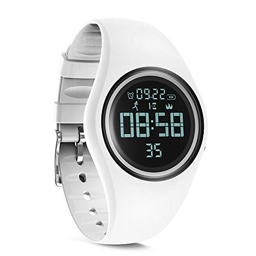 synwee Sports Fitness Tracker Watch, IP68 Waterproof, Non-Bluetooth, with Pedometer/Vibration Alarm Clock/Timer,for Kid Children Teen Boys Girls (White)