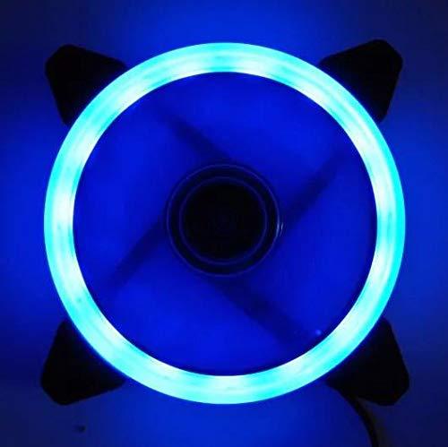 Ventilador de PC DZANKEN de 12 cm, doble luz, RGB, LED, silencioso, para carcasa de ordenador, ventilador de CPU y refrigerador, ultrasilencioso, triple pack de ventilador de varios colores azul