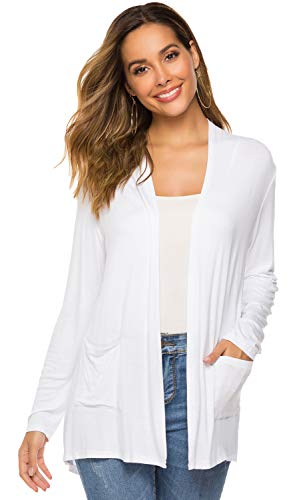 Womens Open Drape Cardigan Reg and Plus Size Cardigan Sweater Long Sleeves Cardigans(03White, M(8-10))