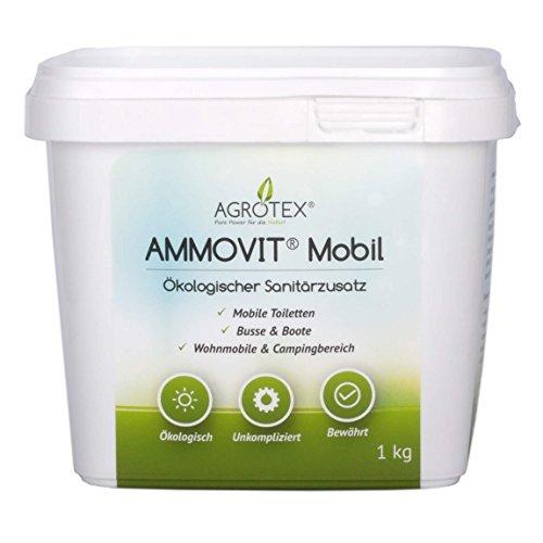 AMMOVIT Mobil 1 kg Eimer - ökologischer Sanitärzusatz zur Geruchs- und Fäkalienbehandlung - biologisch abbaubar, Camping & Caravan