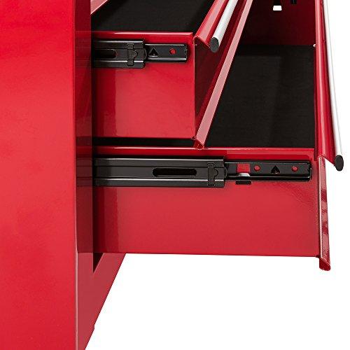 Arebos Werkstattwagen 7 Fächer/zentral abschließbar/Anti-Rutschbeschichtung/Räder mit Festellbremse/Massives Metall/rot, blau oder schwarz (Rot) - 3