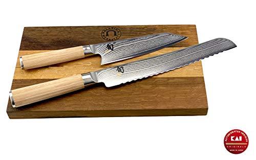 Palatina Werkstatt Kai Shun Classic White Bundle DM-0777W, cuchillo de cocina limitado, cuchillo de pan japonés DM-0705 + tabla de cortar de 30 x 18 cm
