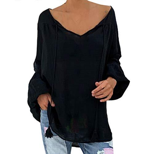 KPPONG 2020 Neu Damen Pullover Lang,V-Ausschnitt Langärmliges Oversize Pullover lang Sweatshirt locker Oberteile Winter verkau (XX-Large, H-Schwarz)