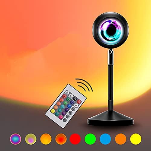 WYCY Lámpara de Proyección al Atardecer, Luces de Puesta de Sol Coloridas 16 Colores y 4 Modos con Control Remoto y Carga USB Lámpara de Puesta de Sol Rotación de 180 Grados