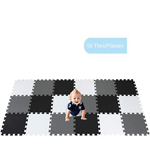 XMTMMD Life Soft Play Mats für Kinder Pure Colour EVA-Schaum Mats Spielmatte Ungiftig Krabbelmatte EVA-Schaum Bodenbelag jiasaw Matte Stylische Puzzlematte für Babys 18PCS AMT101104112G301018