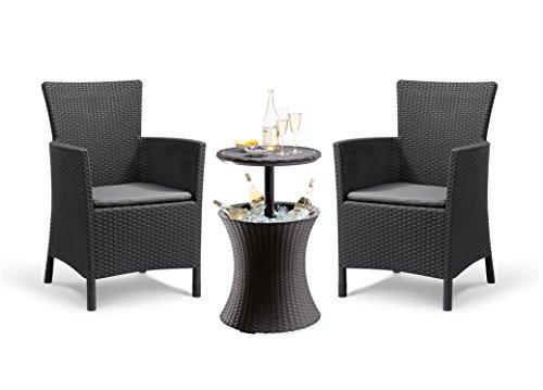 Koll Living Garten-Set: 2X Gartenstuhl Iowa & 1x Tisch Cool Bar - stilvolle Rattanoptik - komfortable Stühle mit Sitzkissen - Beistelltisch mit Eisbox