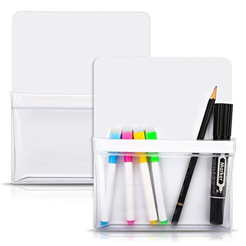 MoKo Magnetischer Stiftehalter, 2 Stück Marker Organizer Whiteboard Magnetische Stift Halterung für Kühlschrank Spind und andere magnetische Oberflächen - Weiß