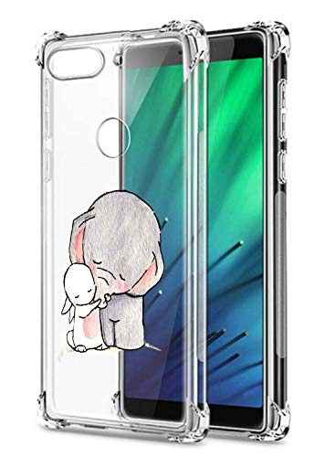 Oihxse Crystal Coque pour Xiaomi Redmi S2/Y2 Transparent Silicone TPU Etui Air Cushion Coin avec Motif [Elephant Lapin] Housse Antichoc Protection Bumper Cover (A4)