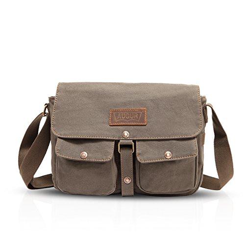 FANDARE Retro Messenger Bag Umhängetasche Schultertasche Laptoprucksäcke Tasche Kuriertasche Multifunktions Canvas Grau