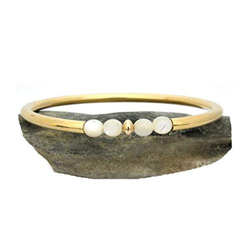 JewelryGift chapado en oro amarillo White Perla natural