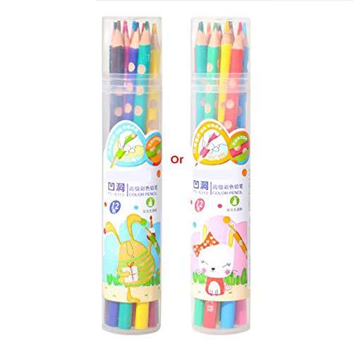 Lapices Colores Yuan Ou Lápiz de color profesional Cóncavo Agujero pequeño Diseño considerado Apto para niños Niños Graffiti Pintura Arte Lápices de colores Set 12 colores