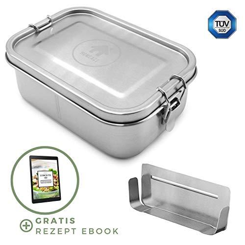 homeAct Edelstahl Eco Lunchbox & Brotdose 800ml | herausnehmbarer Trennsteg | auslaufsicher, nachhaltig und gesund | Jausenbox für Schule, Uni, Arbeit und Camping