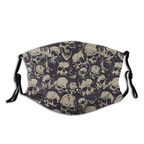 Face mask reusable Grunge Scary Skulls Sketchy Graveyard Death Evil Face Horror Theme Design Balaclava Unisex Reusable Windproof Anti-Dust Mouth Bandanas Made in USA