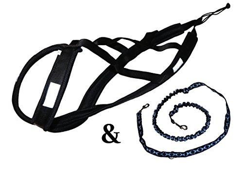 Northern Howl Hunde Zuggeschirr-Set inkl.Zugleine mit integrierten Ruckdämpfer, X-Back Fuer Bike, Canicross, Scooter, Schlitten in schwarz