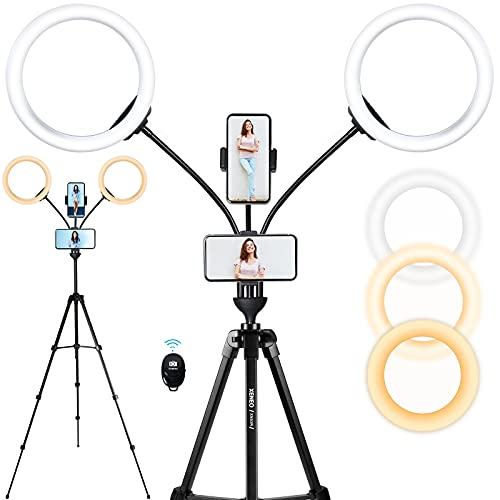 Xeneo Big Ring Light with Tripod Stand & Two Phone Holders, 10'' Dual Dimmable Light Ring for Live Stream/Vlog/Makeup/YouTube/Video Shooting/Video Conference