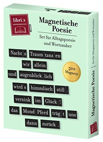 Moses Libri_x Magnetische Poesie | Set für Alltagspoesie und Wortzauber | 500 Magnete für Magnettafel, Memoboard oder Kühlschrank | In einer Geschenkbox