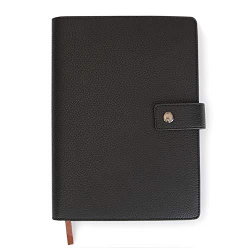 Funda para Agenda Recargable en Cuero Negro de Alta Calidad con Cuaderno Forrado A5 - Tapa Dura a Prueba de Ralladuras de Case Elegance