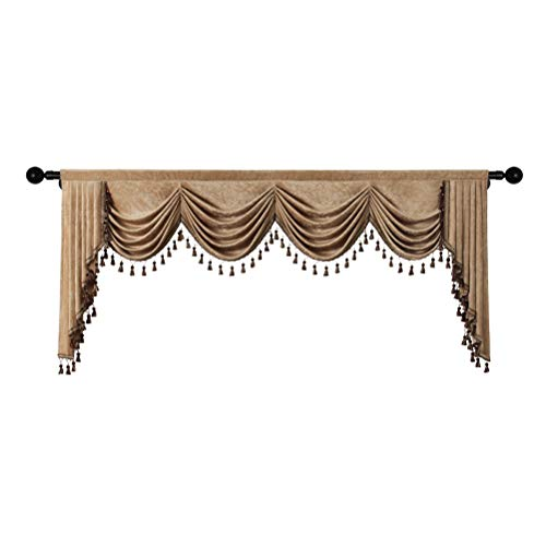 Double-Sided Chenille Waterfall Valance for Living Room Luxury Window Curtains Valance for Bedroom (Coffee, W110 Inch, 1 Panel)