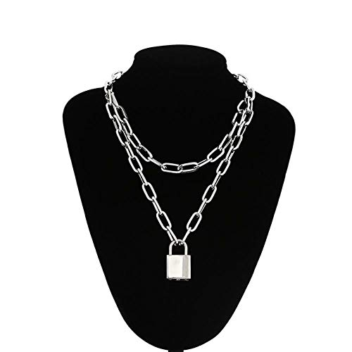 TIANHQ Punk Chain Necklace Ladies Men'S Multi-Layer Padlock Key Thick Chain Punk Jewelry Accessories, Silver