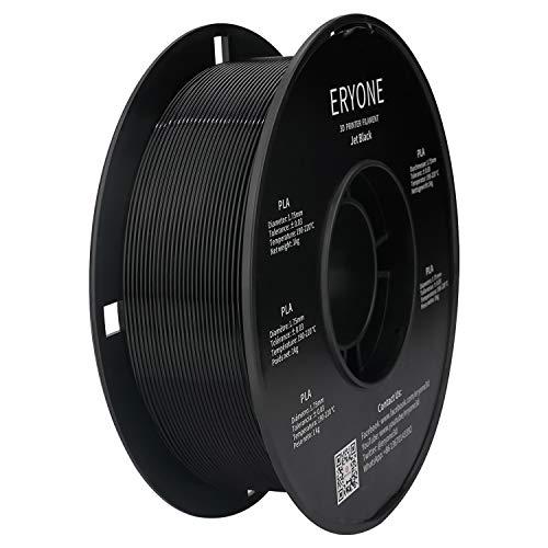 PLA Filament 1.75mm, ERYONE Filament PLA 1.75mm, 3D Printing Filament PLA for 3D Printer, 1kg 1 Spool, Jet Black