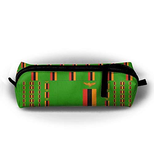 Estuche para lápices con bandera de Zambia, estuche para lápices con cremallera, monedero