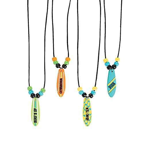 Fun Express - Surf Board Necklace for Birthday - Jewelry - Necklaces - Necklaces - Novelty - Birthday - 12 Pieces