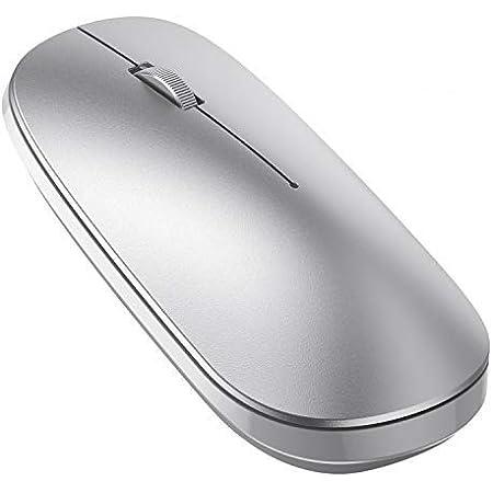 OMOTON Ratón Bluetooth, Ratón Inalámbrico Compatible con Macbook, iPad (Superior a Versión 13), Ordenador, Tablet, Sistema de Windows, Android, Mac, Linux y iPadOS, Ratón BT5.0/ 3.0, Plata