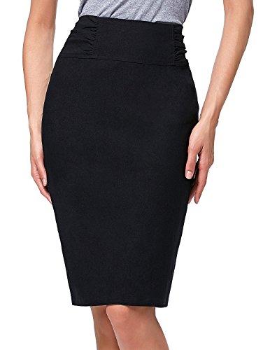 Kate Kasin Mädchen schlank passen hoch Dehnbare hohe Taille midi Bleistiftröcke schwarz (kk268-1) Large