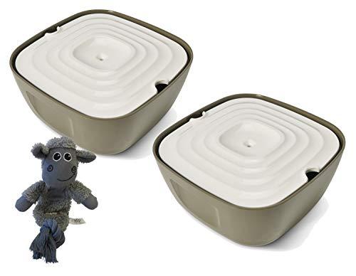PETGARD 2er Sparpack Trinkbrunnen Wasserspender Tränke Volcano aus Melamin 2,5 Liter + gratis Hundespielzeug