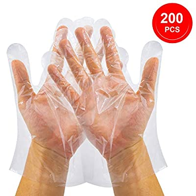 """Disposable Clear Plastic Gloves 200 Pieces (9.4""""X10.6""""), [Easy On Easy Off] Loose Fit Powder & Latex Free Food Handling Disposable Gloves, Polyethylene Work Gloves for Cooking [One Size Fits Most]"""