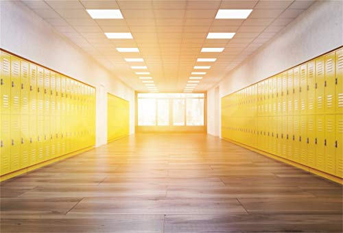 YEELE Locker Backdrop 7x5ft School Corridor with Bright Yellow Lockers Photography Background Fitness Gym Lobby Picture Kids Students Boys Girls Artistic Portrait Photoshoot Props Digital Wallpaper