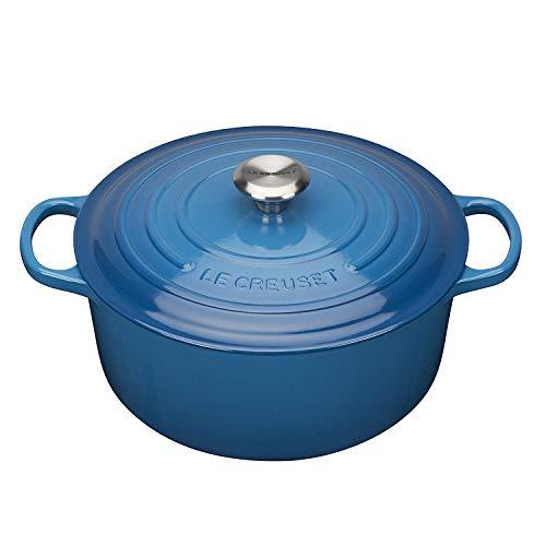 Le Creuset, Cocotte Signature de hierro fundido esmaltado con tapa, Ø 30cm, Redondo, Compatible con todas las fuentes de calor (inducción incluida), Capacidad: 8,4 L, 7.165 kg, Azul Marsella