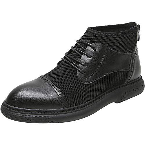男性のための足首のブーツの上のトップオックスフォードレースアップマイクロファイバーレザー&ファブリックパッチワーク丸いつま先ラバーソールフラットゲージジッパー小板 (Color : Black, Size : 40 EU)