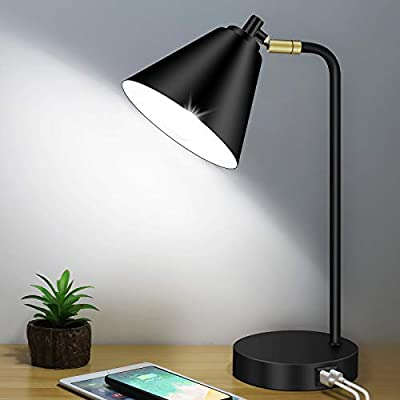 Industrial 3-Way Dimmable Touch Control Desk Lamp with 2 USB Ports and AC Outlet, Modern Table Lamp with Flexible Head, Beside Black Reading Lamp for Office Bedroom Living Room 5000K LED Bulb Included by BesLowe