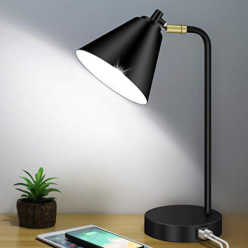 Industrial 3 Way Dimmable Touch Control Desk Lamp with 2 USB Ports & AC Outlet Bedside Nightstand Reading Lamp Flexible Head Farmhouse Black Table Lamp for Office Bedroom Living Room Bulb Included