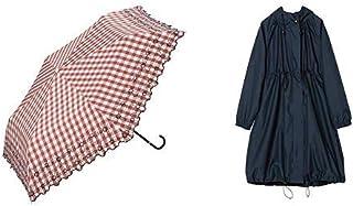 【セット買い】ワールドパーティー(Wpc.) 日傘 折りたたみ傘 レッド 50cm レディース 傘袋付き T/C遮光チェックフラワー刺繍ミニ 801-7388 RD+レインコート ポンチョ レインウェア ネイビー FREE レディース 収納袋付き R-1101 NV