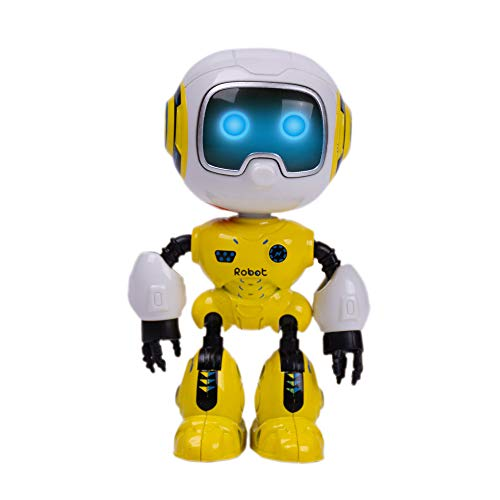 SPACE LION Kids Mini Robot Toy, Metal Body Robot can be rotated, Flashing Lights and Cool Sounds Robot Interactive Toy for Boys and Girls Gift. Head Touch Sensitive LED(Yellow)