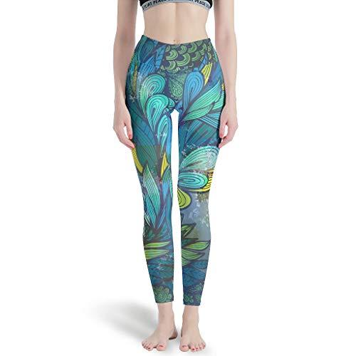CATNEZA - Polainas deportivas con diseño de plumas para niña, largo hasta el tobillo, pantalones de yoga para ciclismo, color blanco 3XL