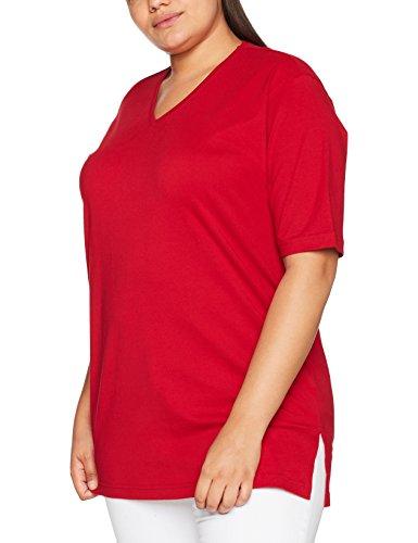 Ulla Popken Damen T-Shirt, V-Ausschnitt, Rot (Rot 57), 54/56