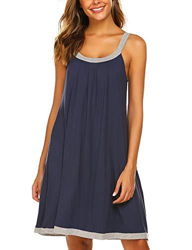 Ekouaer Sleeveless Mini Nightgowns Women's Summer Loose Fit Tank Top Nightgown Sleepwear Dress (Dark Blue, X-Large)