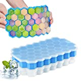 FAPPEN Ice Cube Tray with Lids, 2 Pack Ice Cube Mold Food Grade Silica Gel Flexible and BPA Free with Non-Spill Lid, Ice Cube Tray for Freezer, Baby Food, Water, Whiskey, Cocktail (Blue + White)