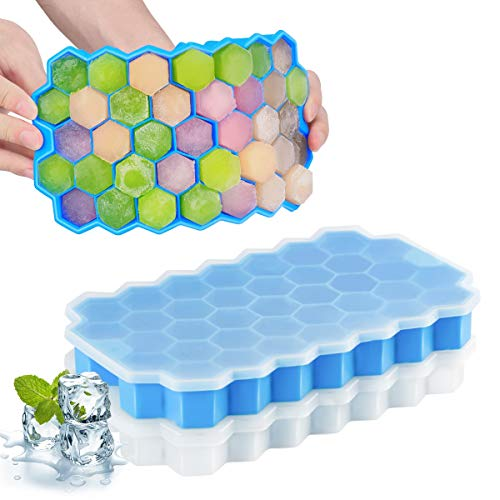 FAPPEN Ice Cube Tray with Lids, 2 Pack Ice Cube Mold Food Grade Silica Gel...