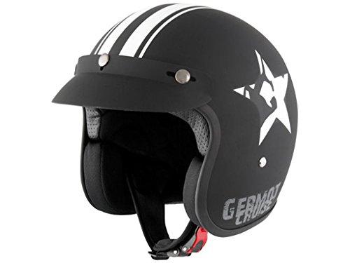GERMOT GM 77 STAR Jethelm - matt schwarz weiß Größe XL
