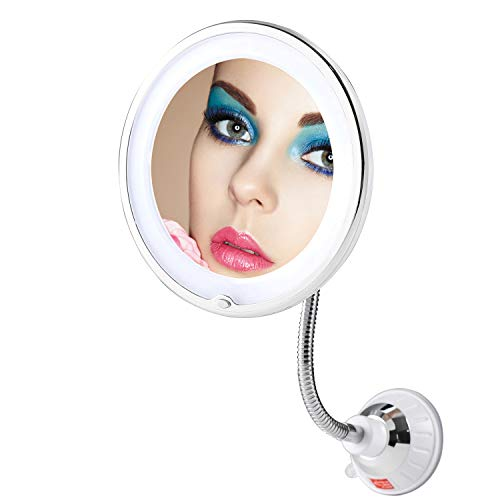 TOP4EVER Flexible Gooseneck LED Lighted 10X Magnifying Makeup Mirror,Power Locking Suction Cup with Dimmable Light and 360 Degree Swivel, Portable Vanity Mirror for Home Bathroom