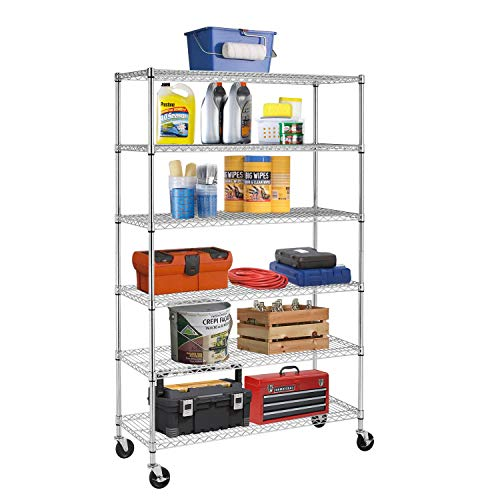 BestMassage Wire Shelving Unit Heavy Duty Garage Storage Shelves Large Metal Shelf Organizer 6-Tier Height Adjustable Commercial Grade Utility Steel Storage Rack with Wheels,18 x 48 x 76 (Chrome)